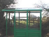 3 Bay Enclosed Bus Shelter with Corner Opening